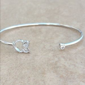 Silver Plated Cubic Zirconia Owl Open Cuff Bangle